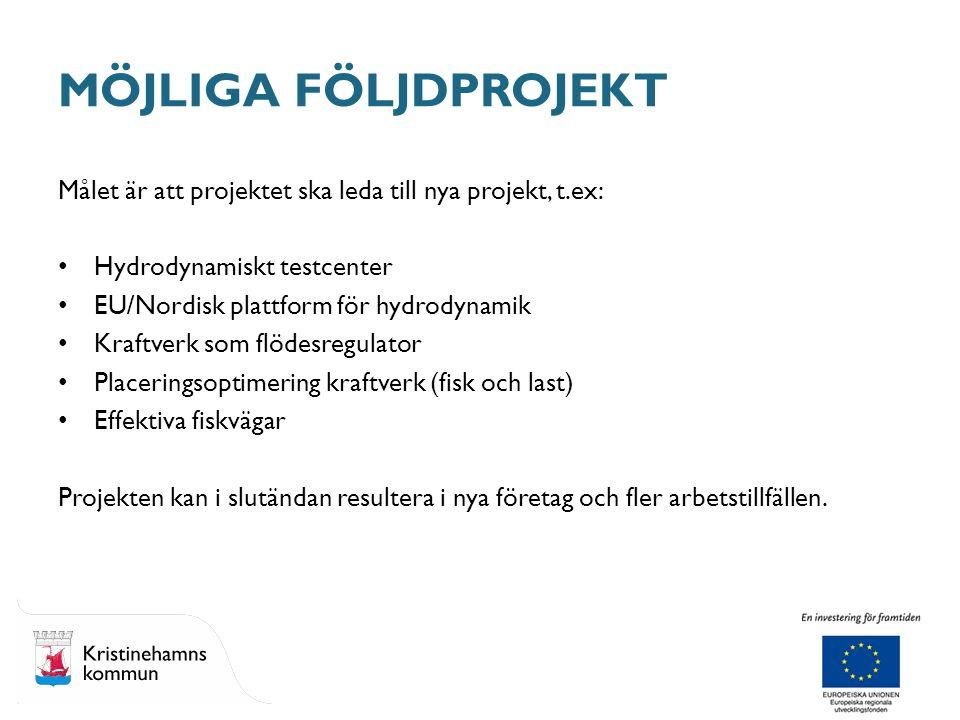 Målet är att projektet ska leda till nya projekt, t.ex: Hydrodynamiskt testcenter EU/Nordisk plattform för hydrodynamik Kraftverk som flödesregulator Placeringsoptimering kraftverk (fisk och last) Effektiva fiskvägar Projekten kan i slutändan resultera i nya företag och fler arbetstillfällen.