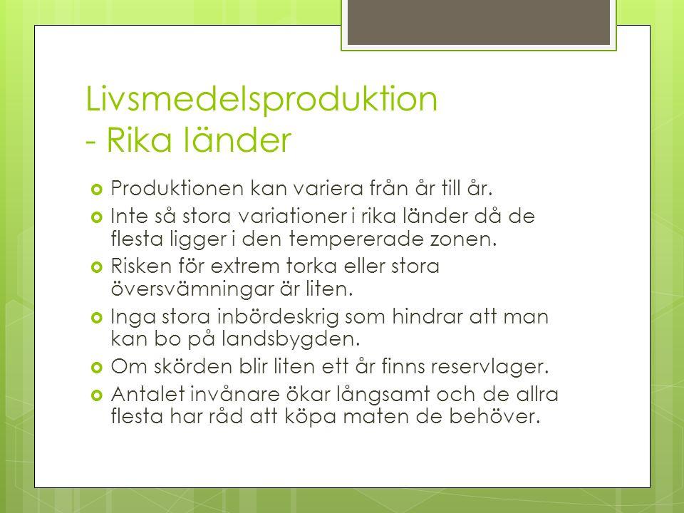 Livsmedelsproduktion - Rika länder  Produktionen kan variera från år till år.  Inte så stora variationer i rika länder då de flesta ligger i den tem
