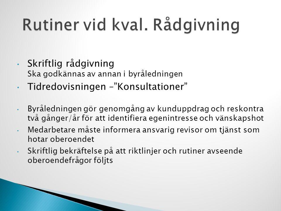 """Skriftlig rådgivning Ska godkännas av annan i byråledningen Tidredovisningen –""""Konsultationer"""" Byråledningen gör genomgång av kunduppdrag och reskontr"""