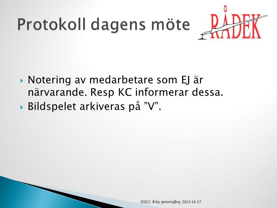  International Standard on Quality Control  Gäller från 1 januari 2011  Varför.