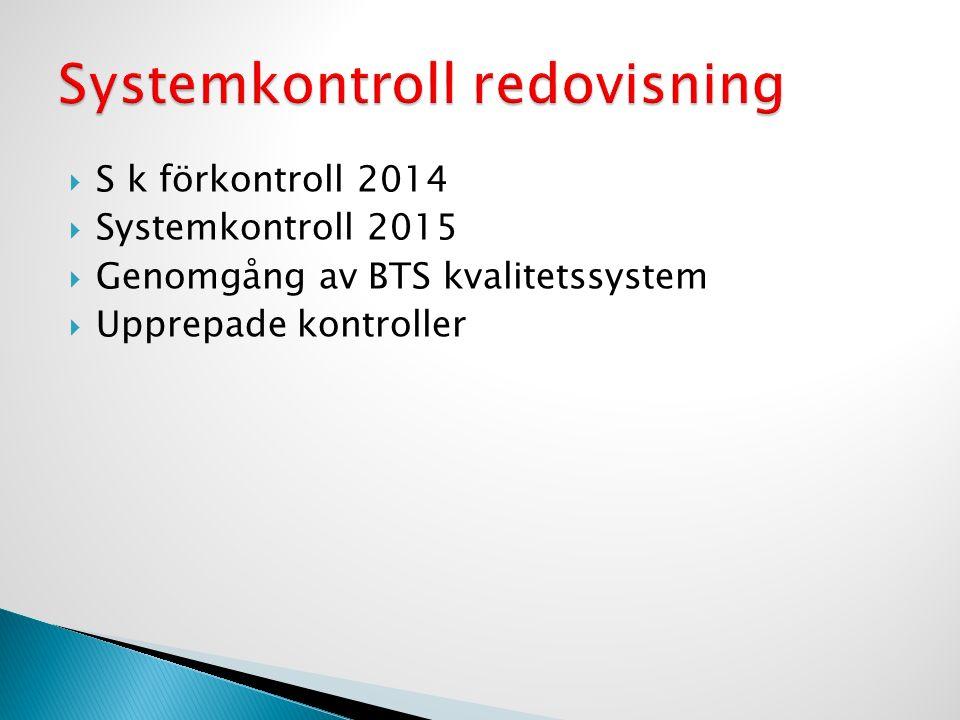  S k förkontroll 2014  Systemkontroll 2015  Genomgång av BTS kvalitetssystem  Upprepade kontroller