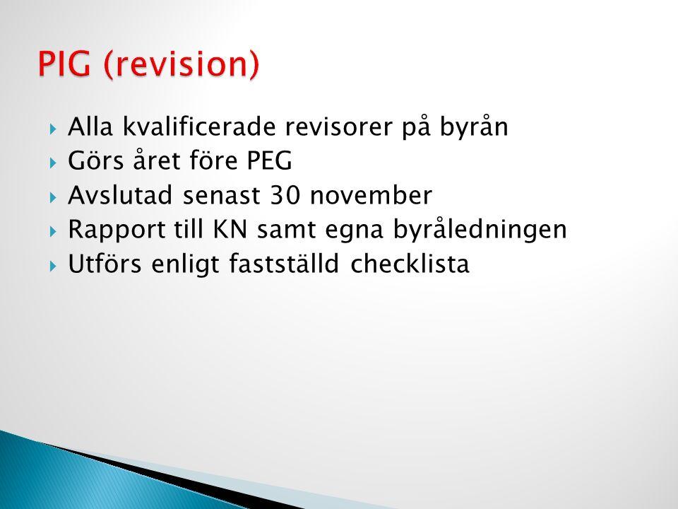  Alla kvalificerade revisorer på byrån  Görs året före PEG  Avslutad senast 30 november  Rapport till KN samt egna byråledningen  Utförs enligt f