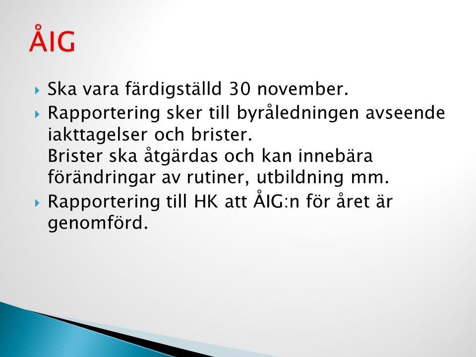  Ska vara färdigställd 30 november.  Rapportering sker till byråledningen avseende iakttagelser och brister. Brister ska åtgärdas och kan innebära f