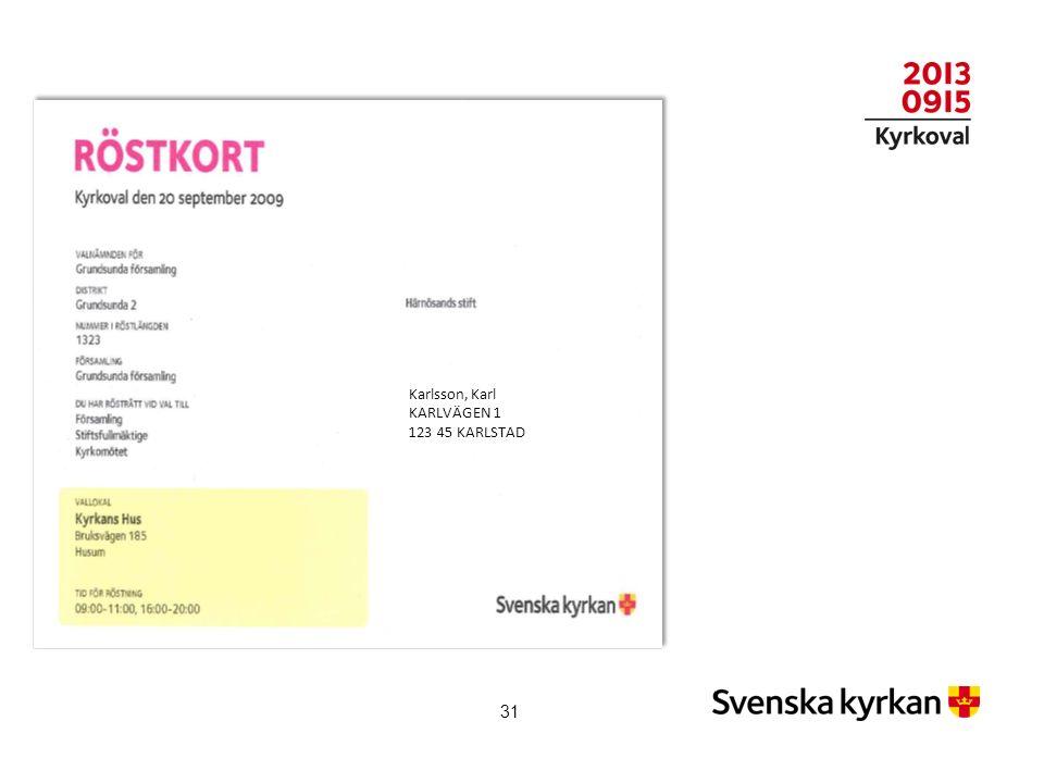 Karlsson, Karl KARLVÄGEN 1 123 45 KARLSTAD 31