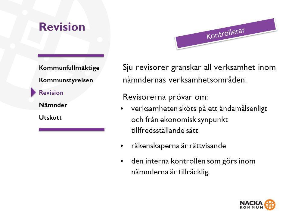 Revision Sju revisorer granskar all verksamhet inom nämndernas verksamhetsområden. Revisorerna prövar om: verksamheten sköts på ett ändamålsenligt och