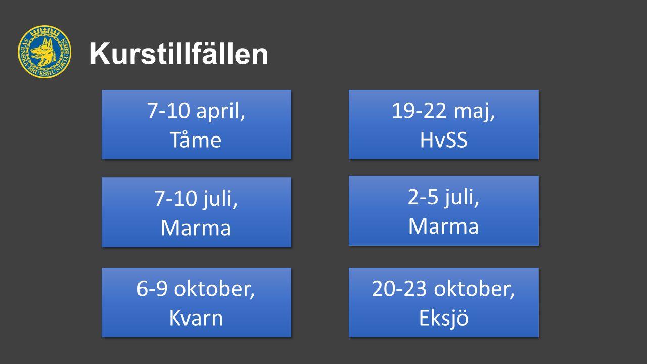 Kurstillfällen 7-10 april, Tåme 7-10 april, Tåme 7-10 juli, Marma 7-10 juli, Marma 2-5 juli, Marma 2-5 juli, Marma 6-9 oktober, Kvarn 6-9 oktober, Kva