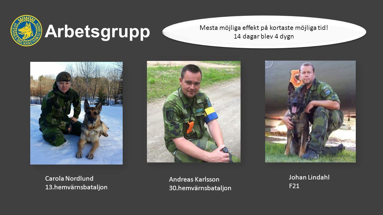 Arbetsgrupp Andreas Karlsson 30.hemvärnsbataljon Johan Lindahl F21 Carola Nordlund 13.hemvärnsbataljon Mesta möjliga effekt på kortaste möjliga tid.