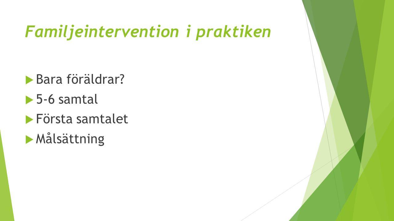 Familjeintervention i praktiken  Bara föräldrar  5-6 samtal  Första samtalet  Målsättning