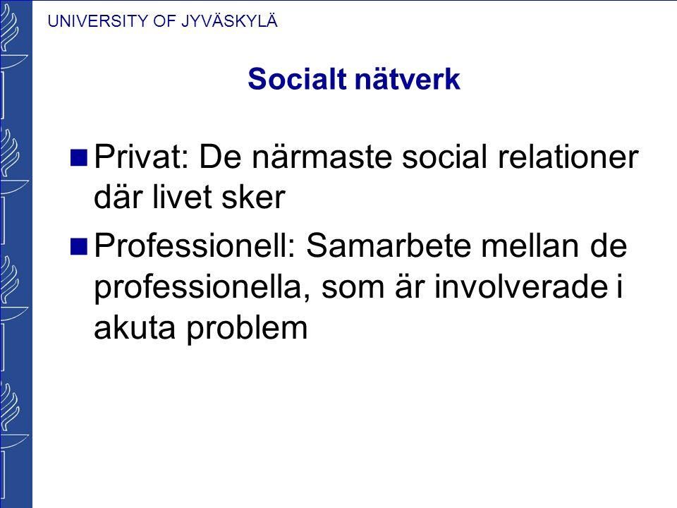 UNIVERSITY OF JYVÄSKYLÄ Socialt nätverk Privat: De närmaste social relationer där livet sker Professionell: Samarbete mellan de professionella, som är involverade i akuta problem