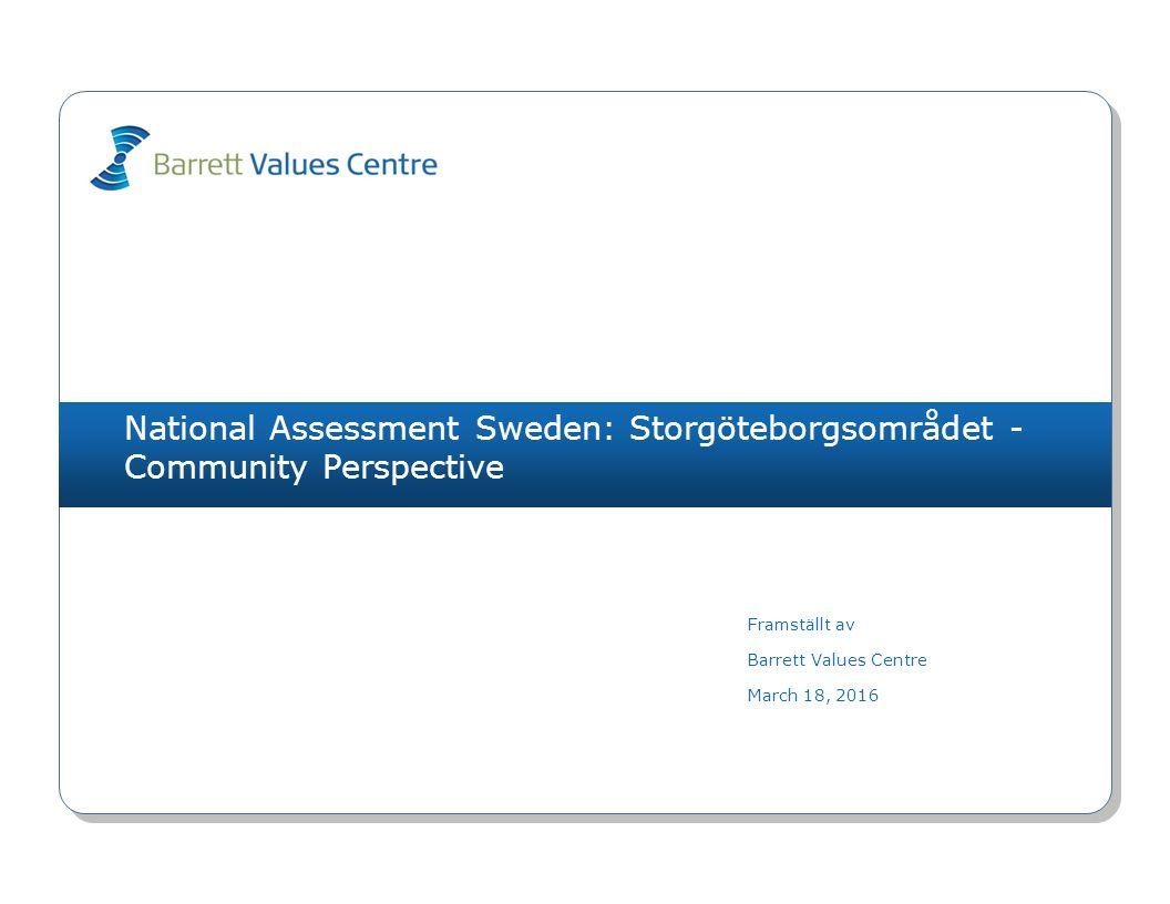 National Assessment Sweden: Storgöteborgsområdet - Community Perspective Framställt av Barrett Values Centre March 18, 2016