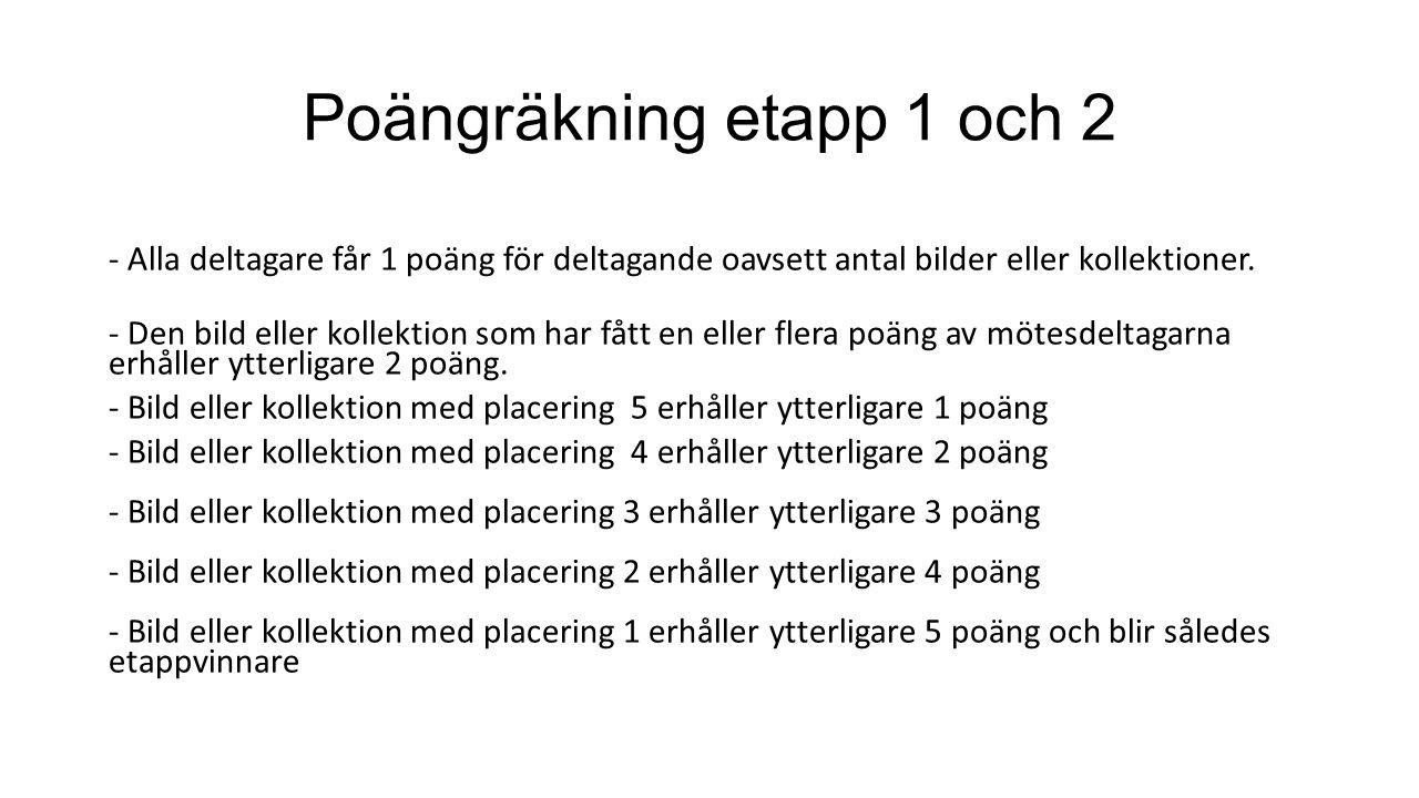 Poängräkning etapp 1 och 2 - Alla deltagare får 1 poäng för deltagande oavsett antal bilder eller kollektioner.