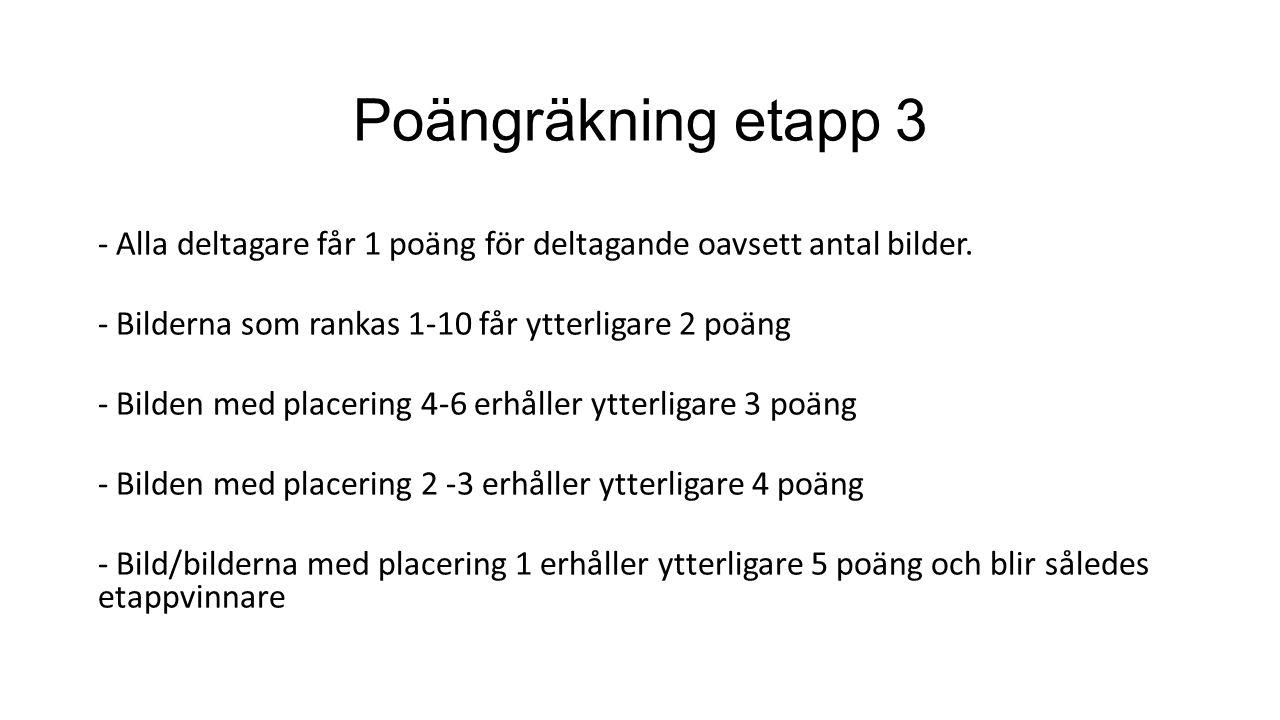Poängräkning etapp 3 - Alla deltagare får 1 poäng för deltagande oavsett antal bilder.