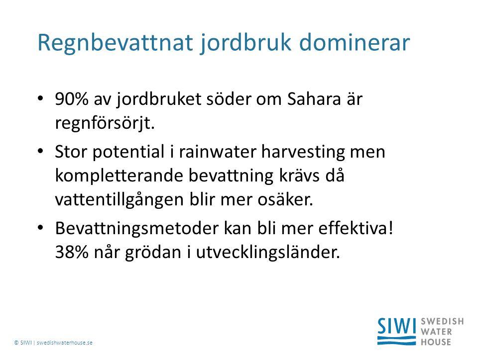 © SIWI | swedishwaterhouse.se 90% av jordbruket söder om Sahara är regnförsörjt.