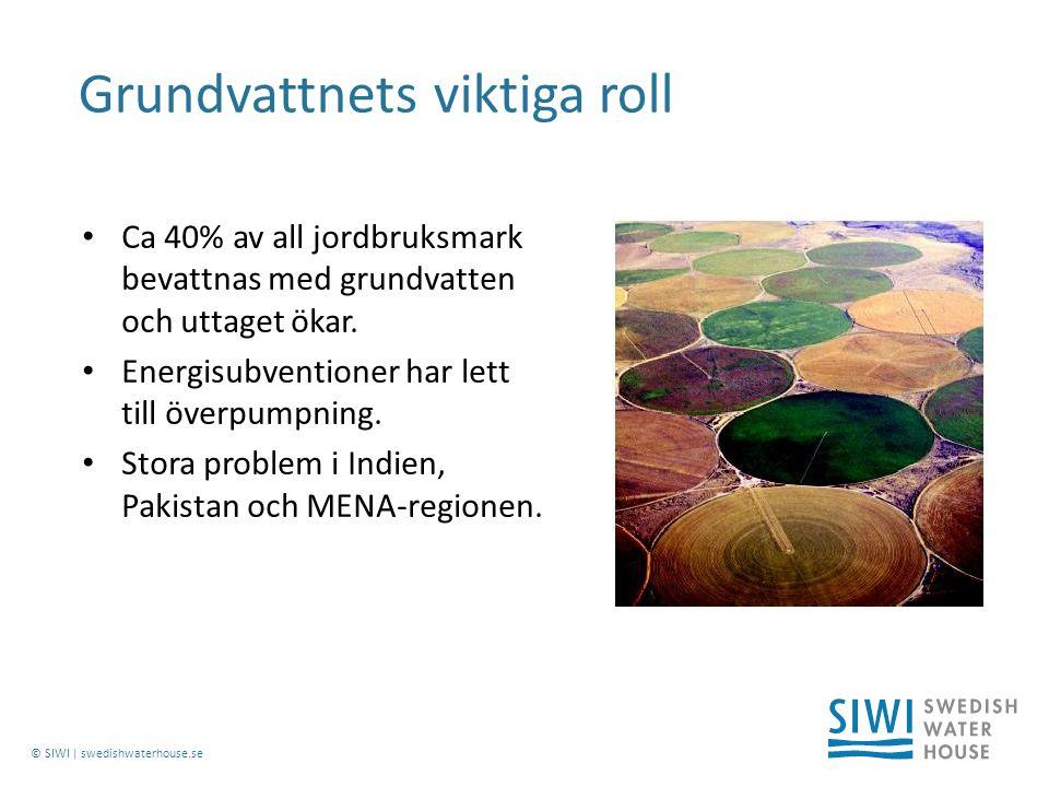 © SIWI | swedishwaterhouse.se Ca 40% av all jordbruksmark bevattnas med grundvatten och uttaget ökar.