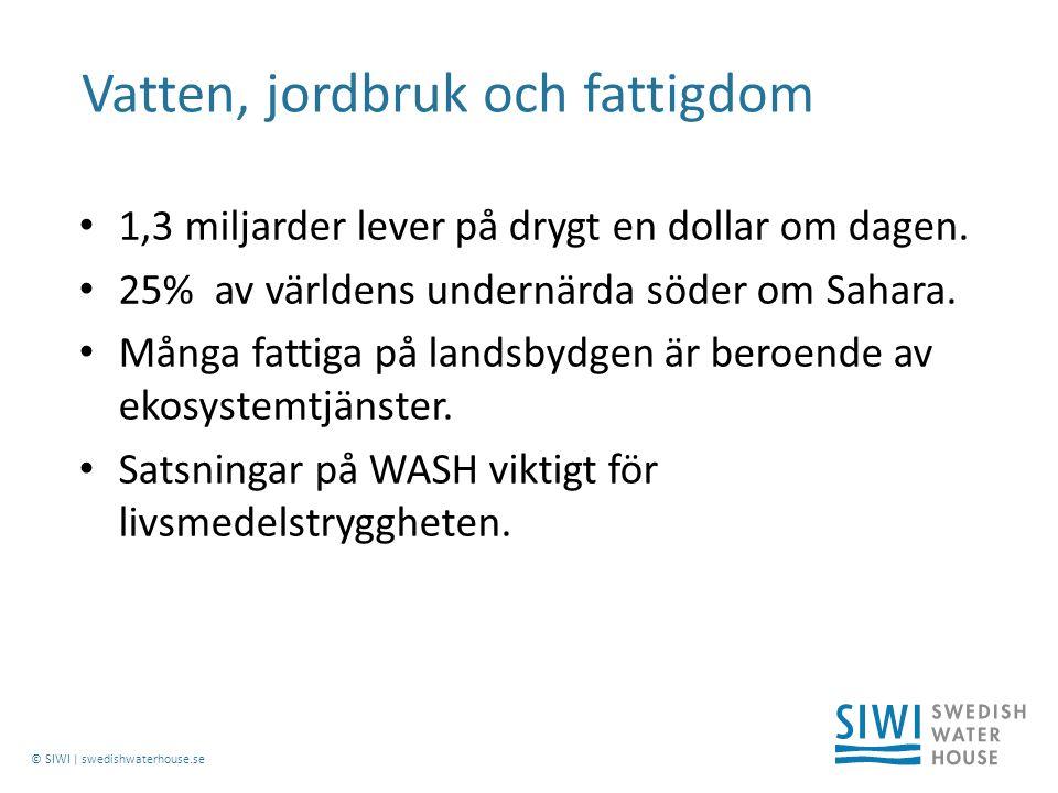 © SIWI | swedishwaterhouse.se 1,3 miljarder lever på drygt en dollar om dagen.