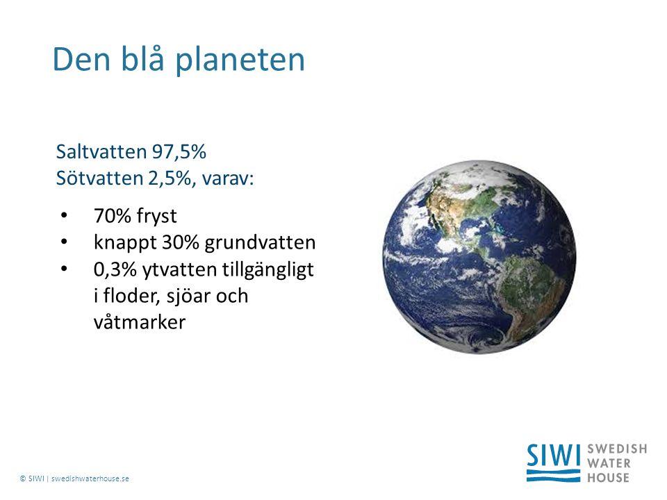 © SIWI | swedishwaterhouse.se Den blå planeten 70% fryst knappt 30% grundvatten 0,3% ytvatten tillgängligt i floder, sjöar och våtmarker Saltvatten 97,5% Sötvatten 2,5%, varav: