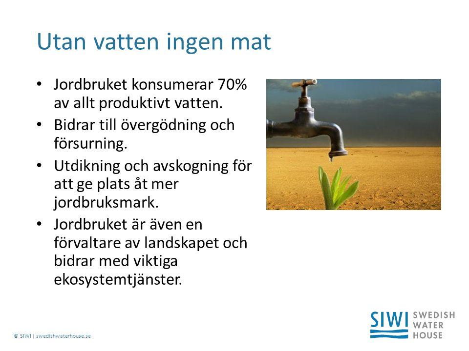 © SIWI | swedishwaterhouse.se Jordbruket konsumerar 70% av allt produktivt vatten.