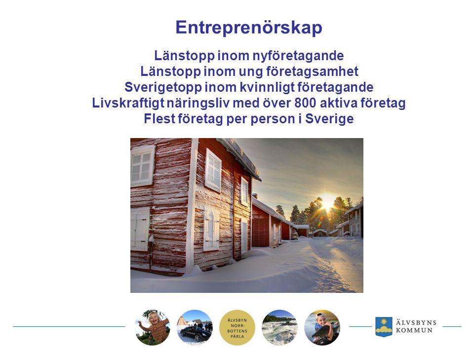 Entreprenörskap Länstopp inom nyföretagande Länstopp inom ung företagsamhet Sverigetopp inom kvinnligt företagande Livskraftigt näringsliv med över 800 aktiva företag Flest företag per person i Sverige