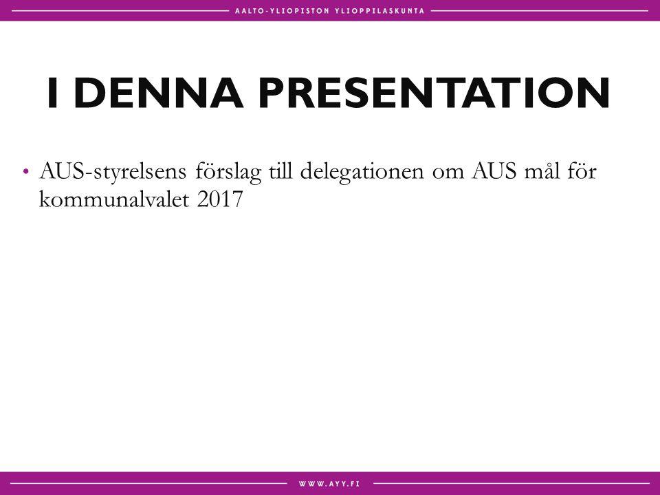 I DENNA PRESENTATION AUS-styrelsens förslag till delegationen om AUS mål för kommunalvalet 2017