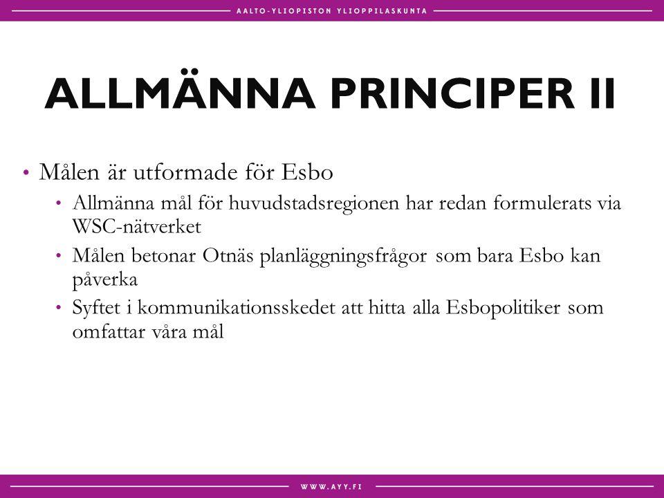 ALLMÄNNA PRINCIPER II Målen är utformade för Esbo Allmänna mål för huvudstadsregionen har redan formulerats via WSC-nätverket Målen betonar Otnäs planläggningsfrågor som bara Esbo kan påverka Syftet i kommunikationsskedet att hitta alla Esbopolitiker som omfattar våra mål