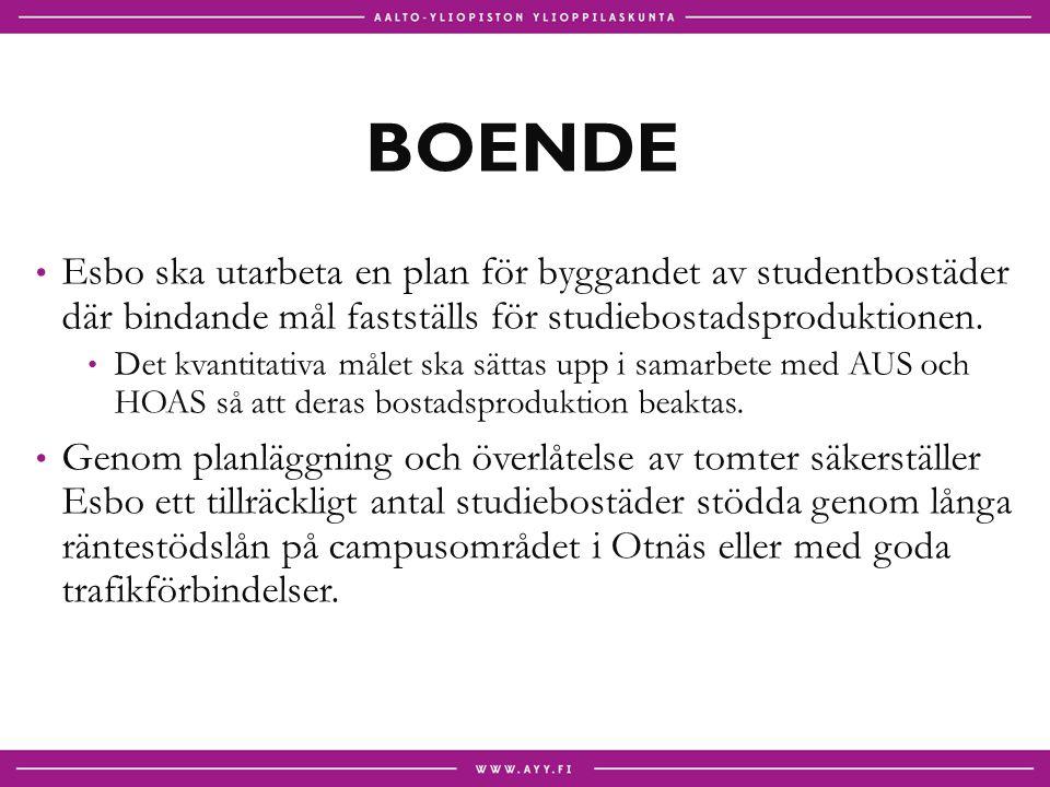 BOENDE Esbo ska utarbeta en plan för byggandet av studentbostäder där bindande mål fastställs för studiebostadsproduktionen.