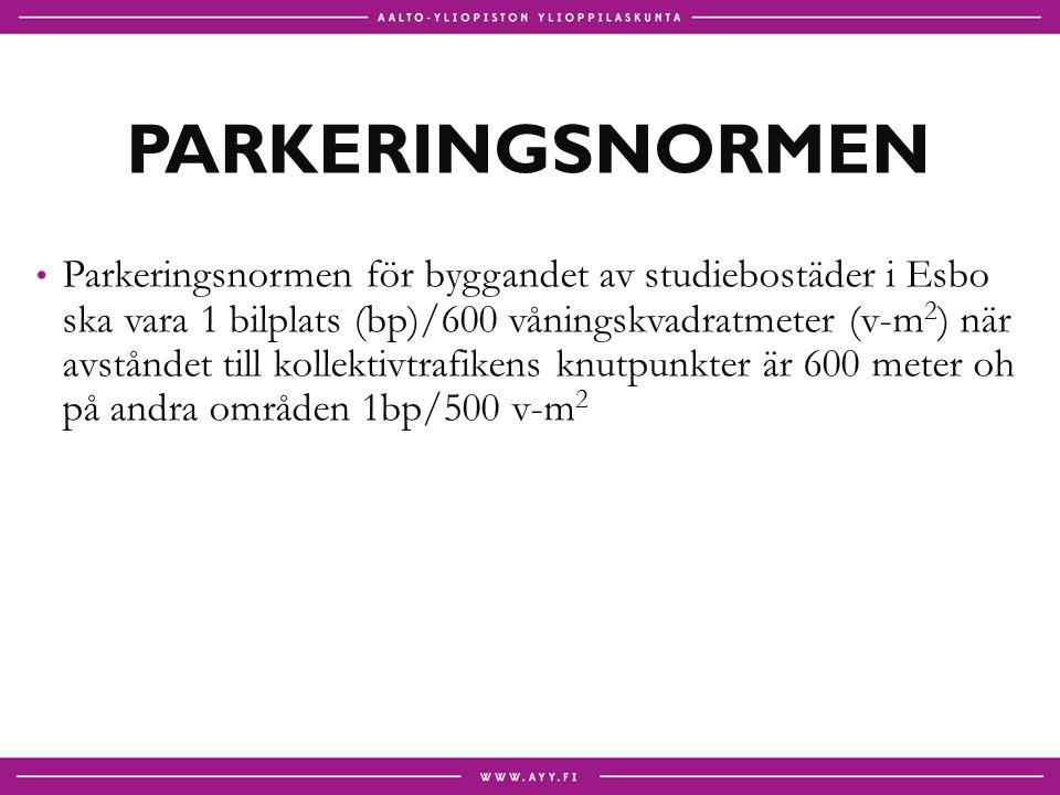 PARKERINGSNORMEN Parkeringsnormen för byggandet av studiebostäder i Esbo ska vara 1 bilplats (bp)/600 våningskvadratmeter (v-m 2 ) när avståndet till kollektivtrafikens knutpunkter är 600 meter oh på andra områden 1bp/500 v-m 2