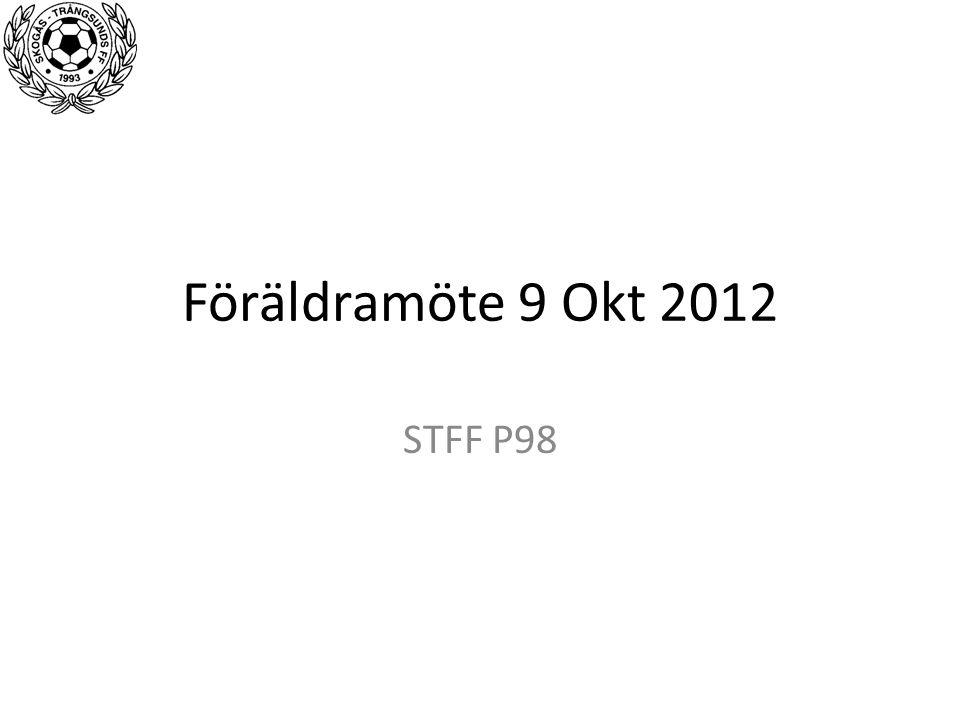 Föräldramöte 9 Okt 2012 STFF P98
