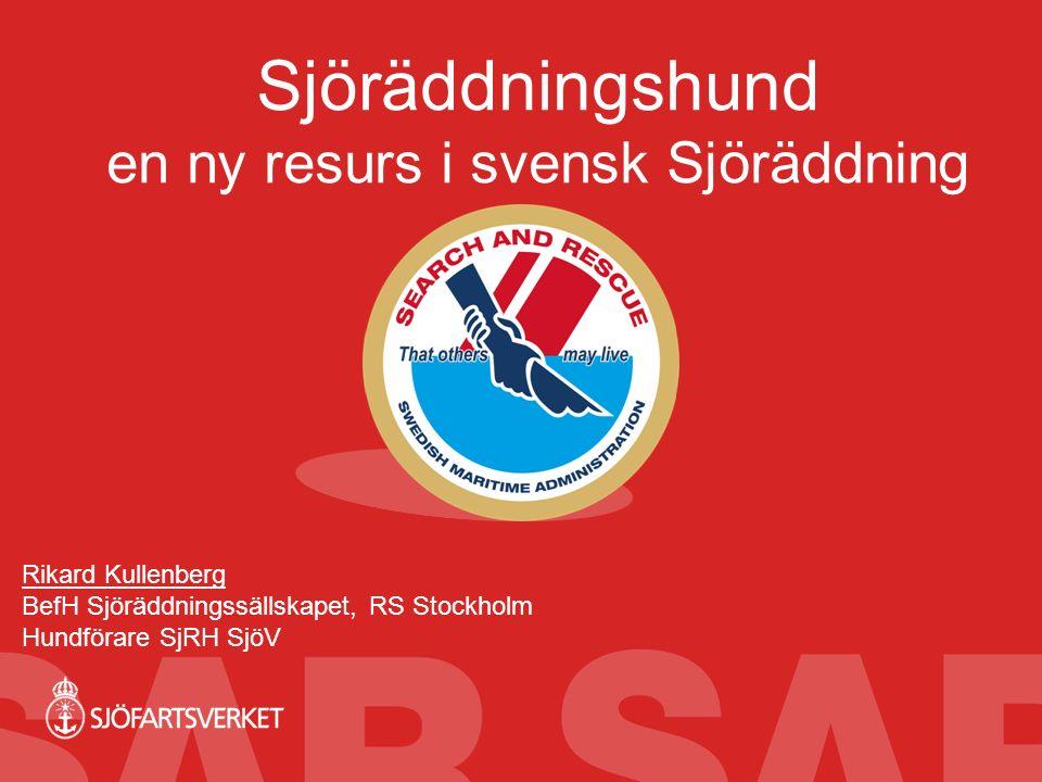Sjöräddningshund en ny resurs i svensk Sjöräddning Rikard Kullenberg BefH Sjöräddningssällskapet, RS Stockholm Hundförare SjRH SjöV