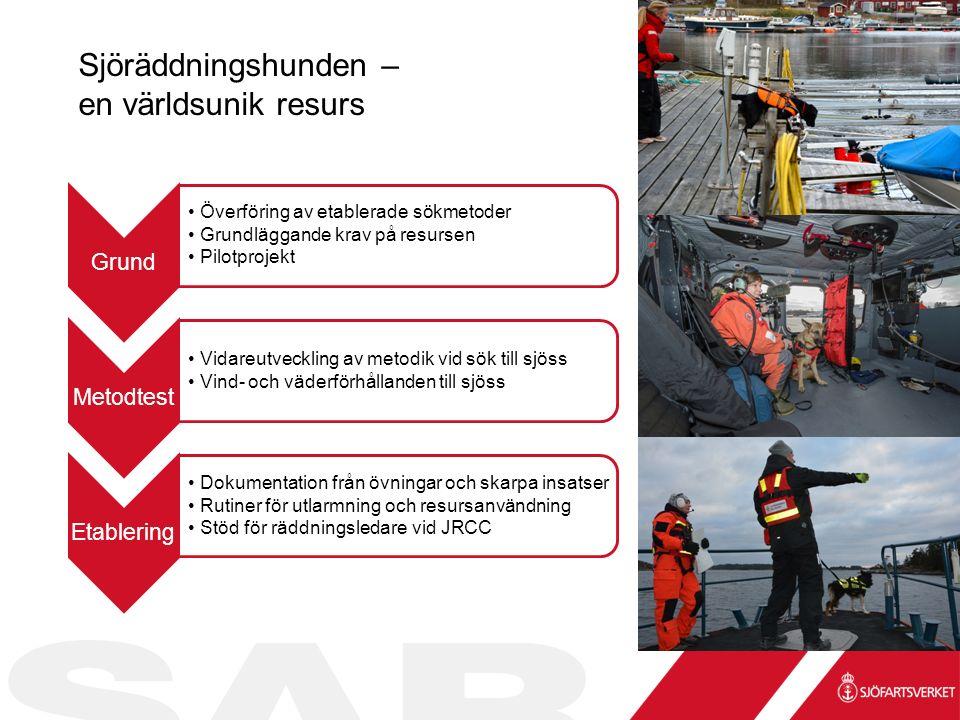 Sjöräddningshunden – en världsunik resurs Grund Överföring av etablerade sökmetoder Grundläggande krav på resursen Pilotprojekt Metodtest Vidareutveckling av metodik vid sök till sjöss Vind- och väderförhållanden till sjöss Etablering Dokumentation från övningar och skarpa insatser Rutiner för utlarmning och resursanvändning Stöd för räddningsledare vid JRCC