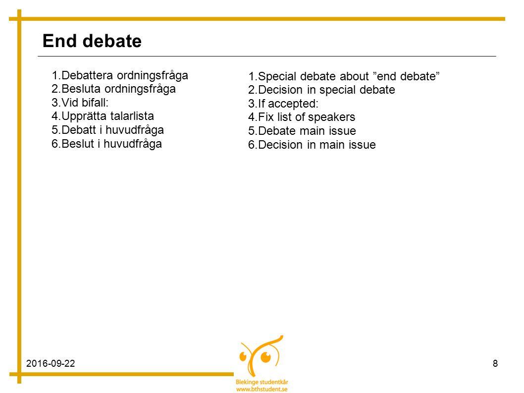 2016-09-228 End debate 1.Debattera ordningsfråga 2.Besluta ordningsfråga 3.Vid bifall: 4.Upprätta talarlista 5.Debatt i huvudfråga 6.Beslut i huvudfråga 1.Special debate about end debate 2.Decision in special debate 3.If accepted: 4.Fix list of speakers 5.Debate main issue 6.Decision in main issue