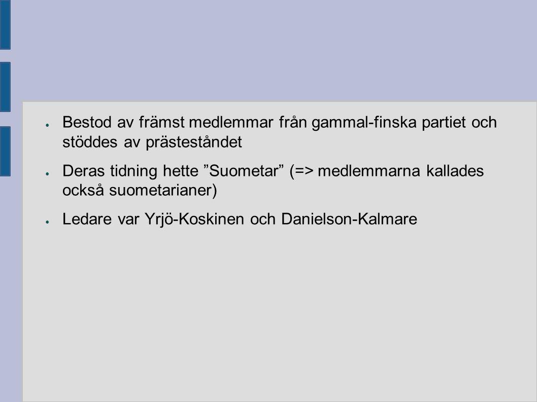 """● Bestod av främst medlemmar från gammal-finska partiet och stöddes av prästeståndet ● Deras tidning hette """"Suometar"""" (=> medlemmarna kallades också s"""