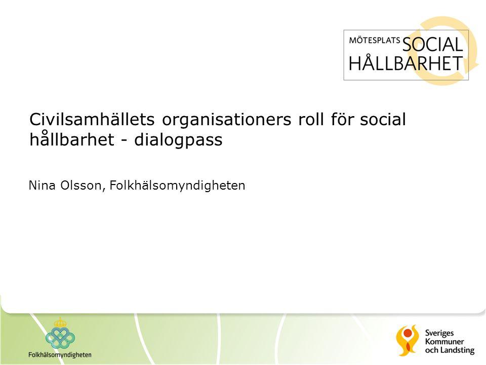 Civilsamhällets organisationers roll för social hållbarhet - dialogpass Nina Olsson, Folkhälsomyndigheten