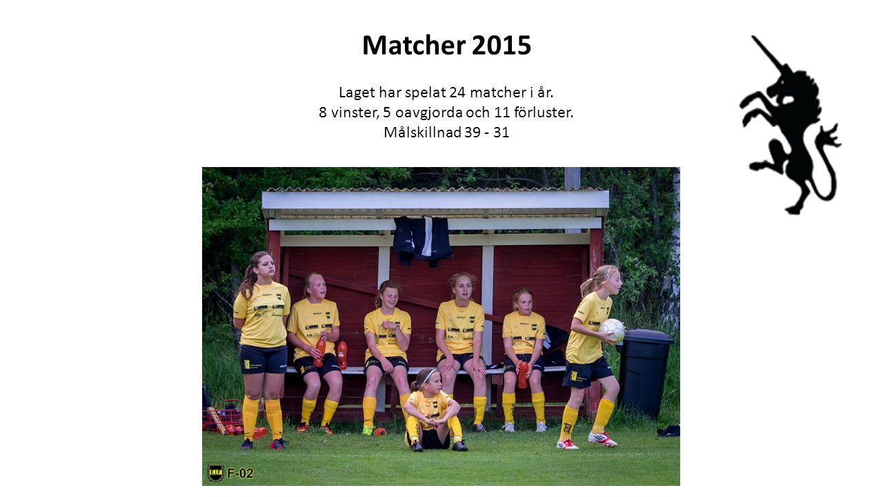 Matcher 2015 Laget har spelat 24 matcher i år. 8 vinster, 5 oavgjorda och 11 förluster. Målskillnad 39 - 31