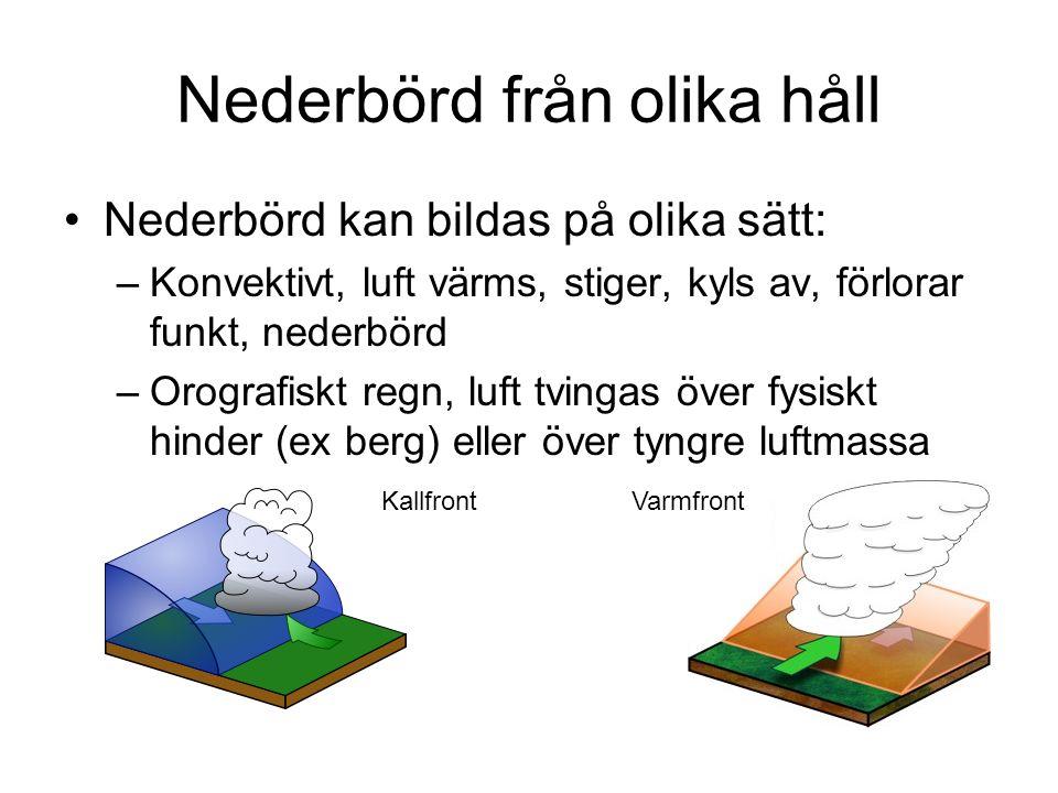 Nederbörd från olika håll Nederbörd kan bildas på olika sätt: –Konvektivt, luft värms, stiger, kyls av, förlorar funkt, nederbörd –Orografiskt regn, l