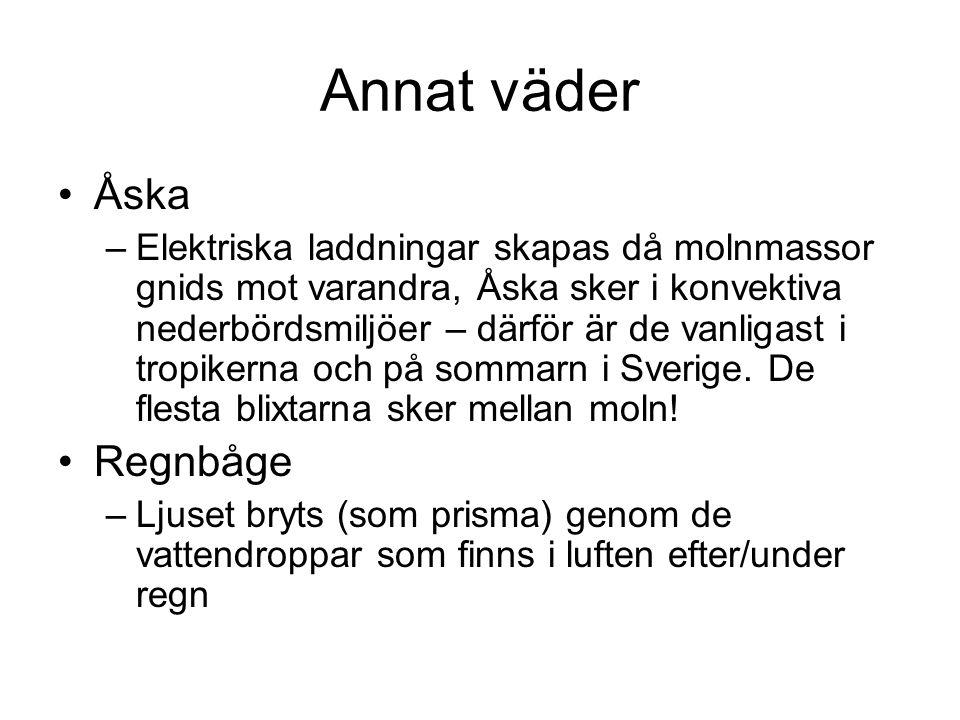 Annat väder Åska –Elektriska laddningar skapas då molnmassor gnids mot varandra, Åska sker i konvektiva nederbördsmiljöer – därför är de vanligast i tropikerna och på sommarn i Sverige.