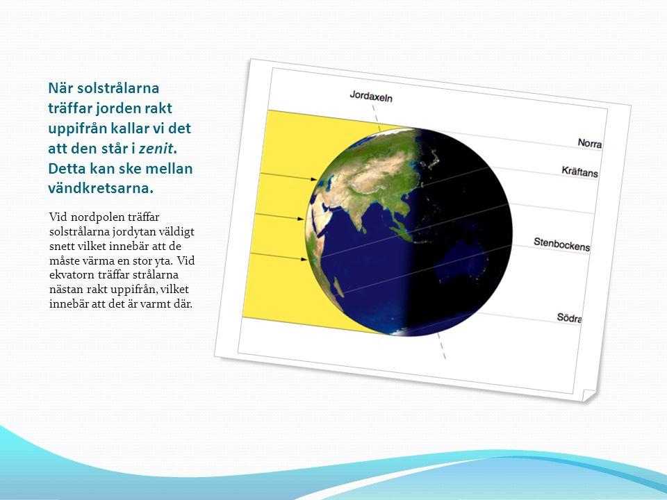 Årstider Vid midsommar lutar norra jordklotet som mest mot solen.