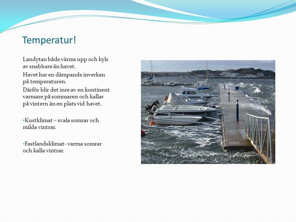 Temperatur. Landytan både värms upp och kyls av snabbare än havet.