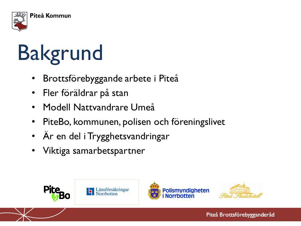 Brottsförebyggande arbete i Piteå Fler föräldrar på stan Modell Nattvandrare Umeå PiteBo, kommunen, polisen och föreningslivet Är en del i Trygghetsvandringar Viktiga samarbetspartner Bakgrund Piteå Brottsförebygganderåd