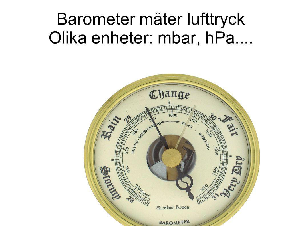 Barometer mäter lufttryck Olika enheter: mbar, hPa....