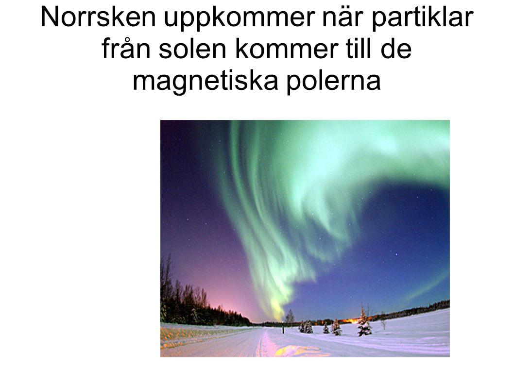 Norrsken uppkommer när partiklar från solen kommer till de magnetiska polerna