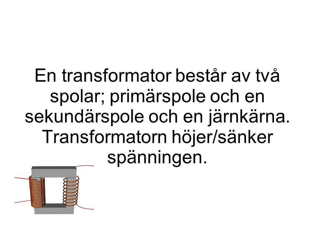 En transformator består av två spolar; primärspole och en sekundärspole och en järnkärna.