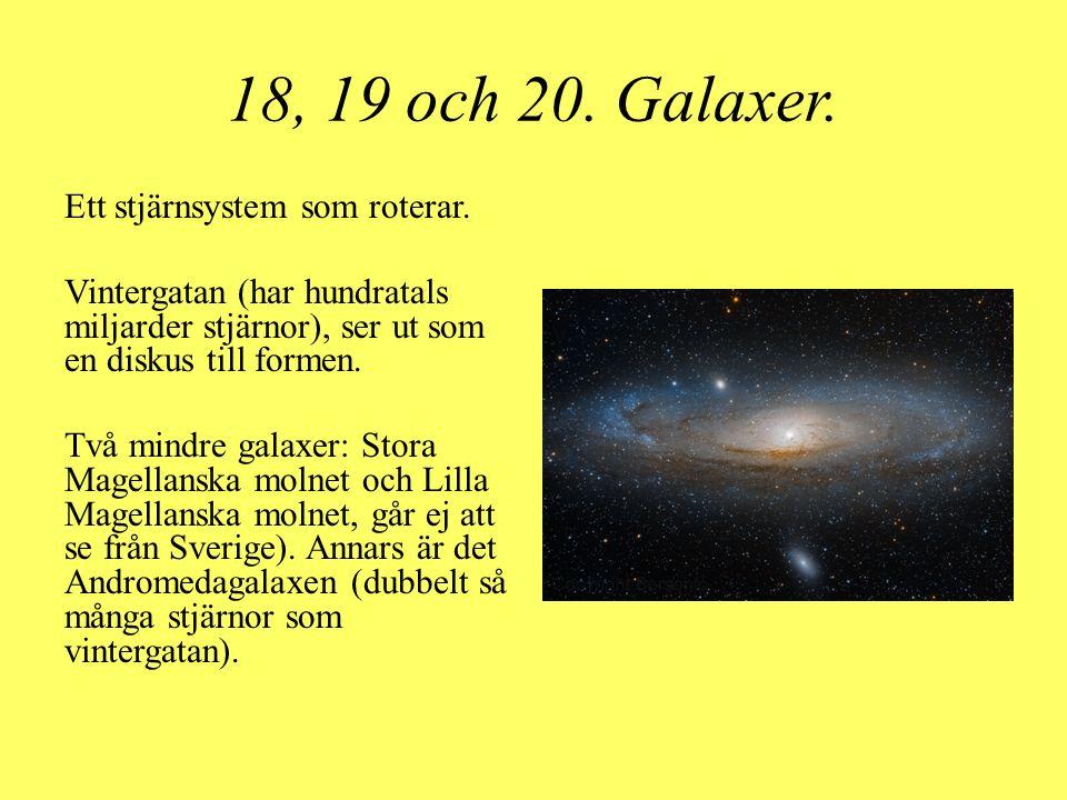 18, 19 och 20. Galaxer. Ett stjärnsystem som roterar. Vintergatan (har hundratals miljarder stjärnor), ser ut som en diskus till formen. Två mindre ga
