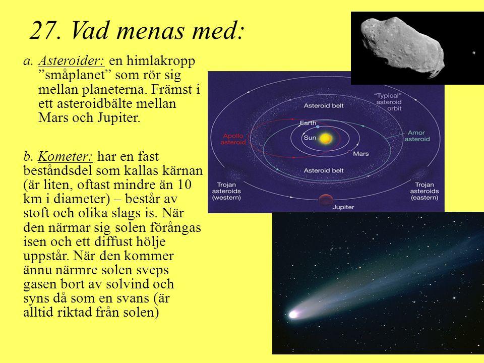 """27. Vad menas med: a.Asteroider: en himlakropp """"småplanet"""" som rör sig mellan planeterna. Främst i ett asteroidbälte mellan Mars och Jupiter. b. Komet"""