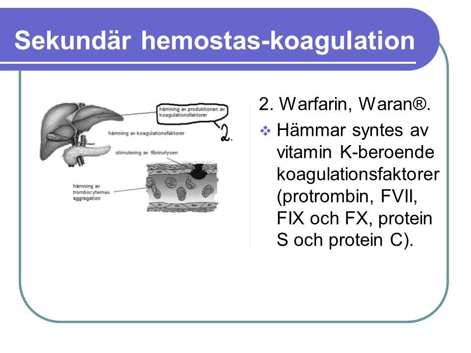 Sekundär hemostas-koagulation 2. Warfarin, Waran®.