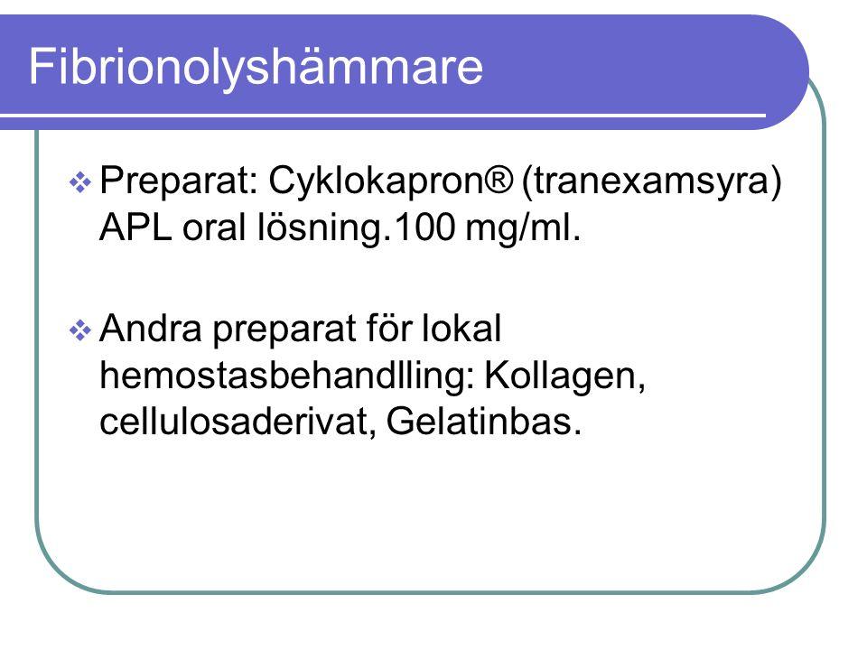 Fibrionolyshämmare  Preparat: Cyklokapron® (tranexamsyra) APL oral lösning.100 mg/ml.