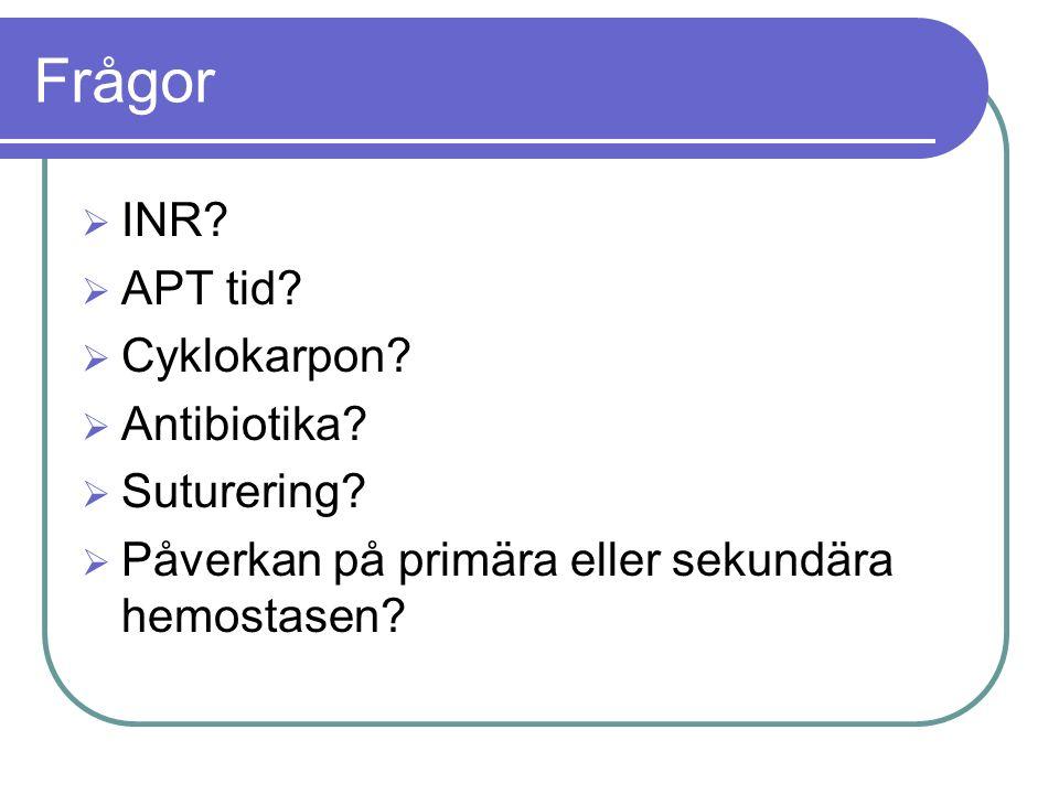 Frågor  INR.  APT tid.  Cyklokarpon.  Antibiotika.