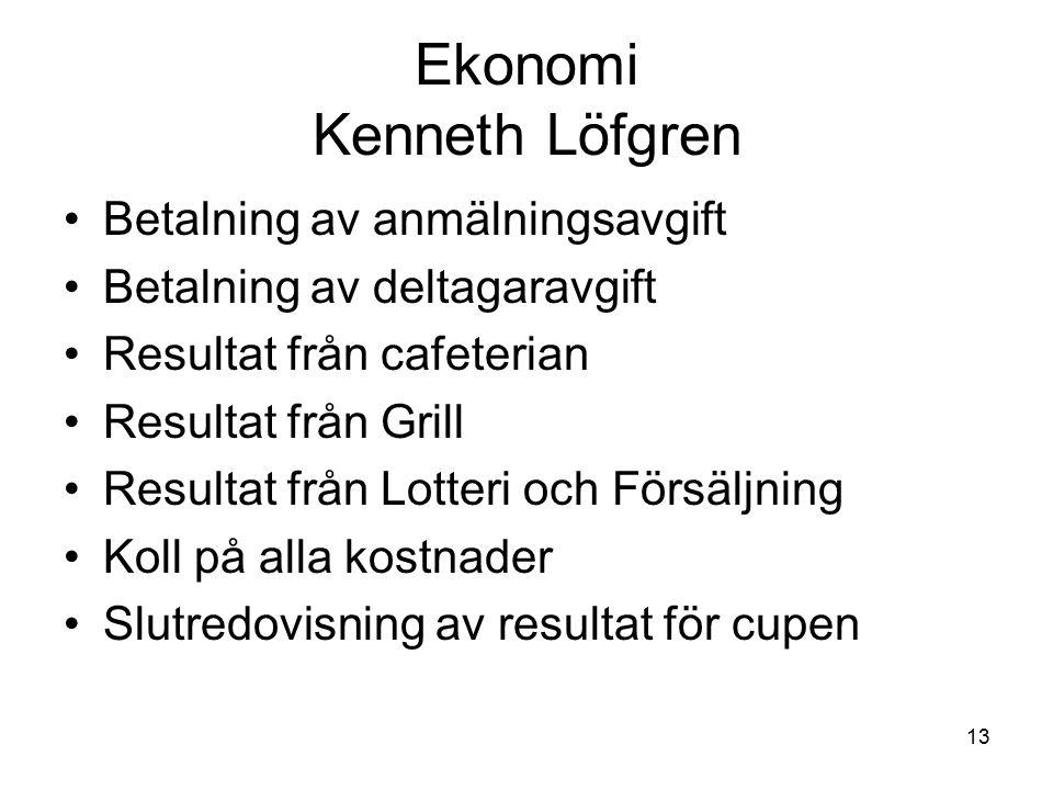 13 Ekonomi Kenneth Löfgren Betalning av anmälningsavgift Betalning av deltagaravgift Resultat från cafeterian Resultat från Grill Resultat från Lotteri och Försäljning Koll på alla kostnader Slutredovisning av resultat för cupen