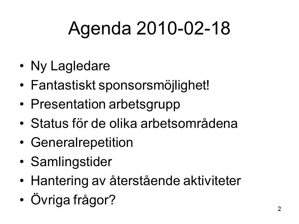 2 Agenda 2010-02-18 Ny Lagledare Fantastiskt sponsorsmöjlighet.