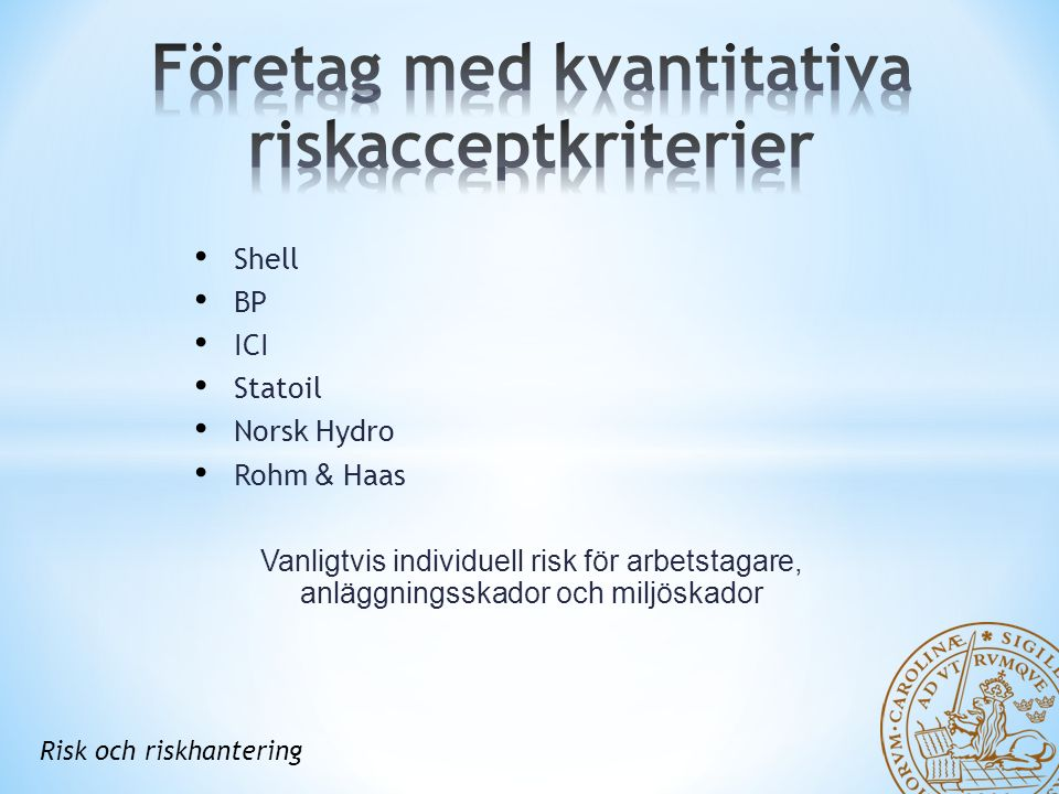 Shell BP ICI Statoil Norsk Hydro Rohm & Haas Vanligtvis individuell risk för arbetstagare, anläggningsskador och miljöskador Risk och riskhantering