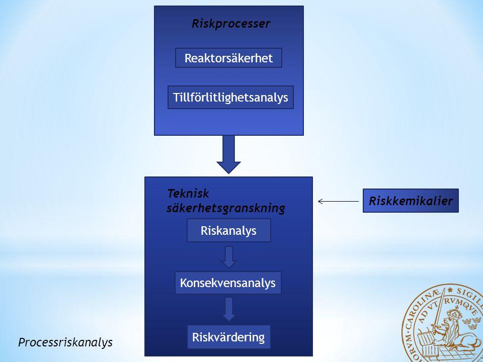 Riskprocesser Reaktorsäkerhet Tillförlitlighetsanalys Teknisk säkerhetsgranskning Riskanalys Konsekvensanalys Riskvärdering Processriskanalys Riskkemikalier